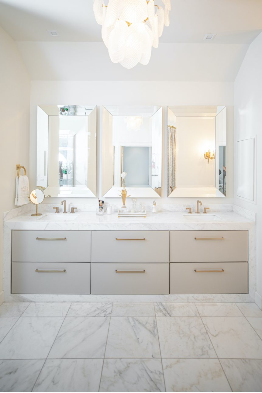 Tulsa home gray and white master bath with polished bianco rhino marble by Eurocraft