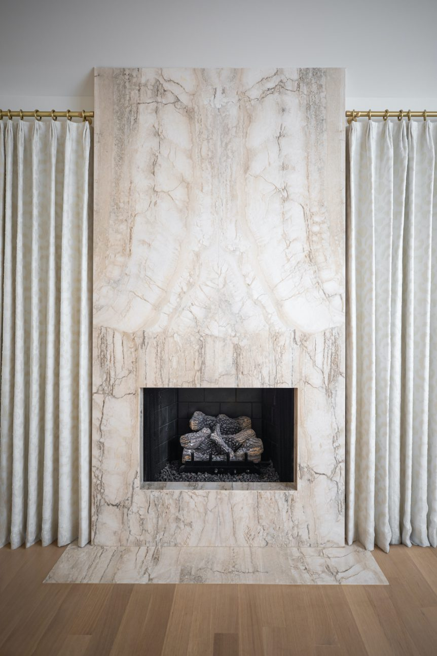Tulsa Travertino Silverwild Bookmatch Veining Master Bedroom Fireplace by Eurocraft